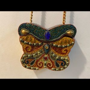 Vintage hand beaded butterfly purse